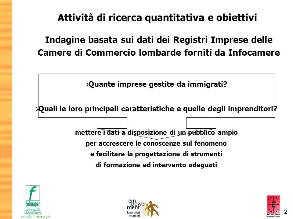 Attività di ricerca quantitativa e obiettivi