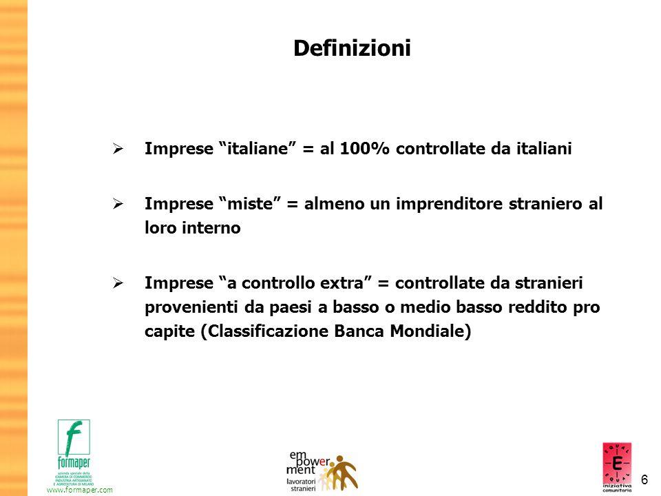 Definizioni Imprese italiane = al 100% controllate da italiani