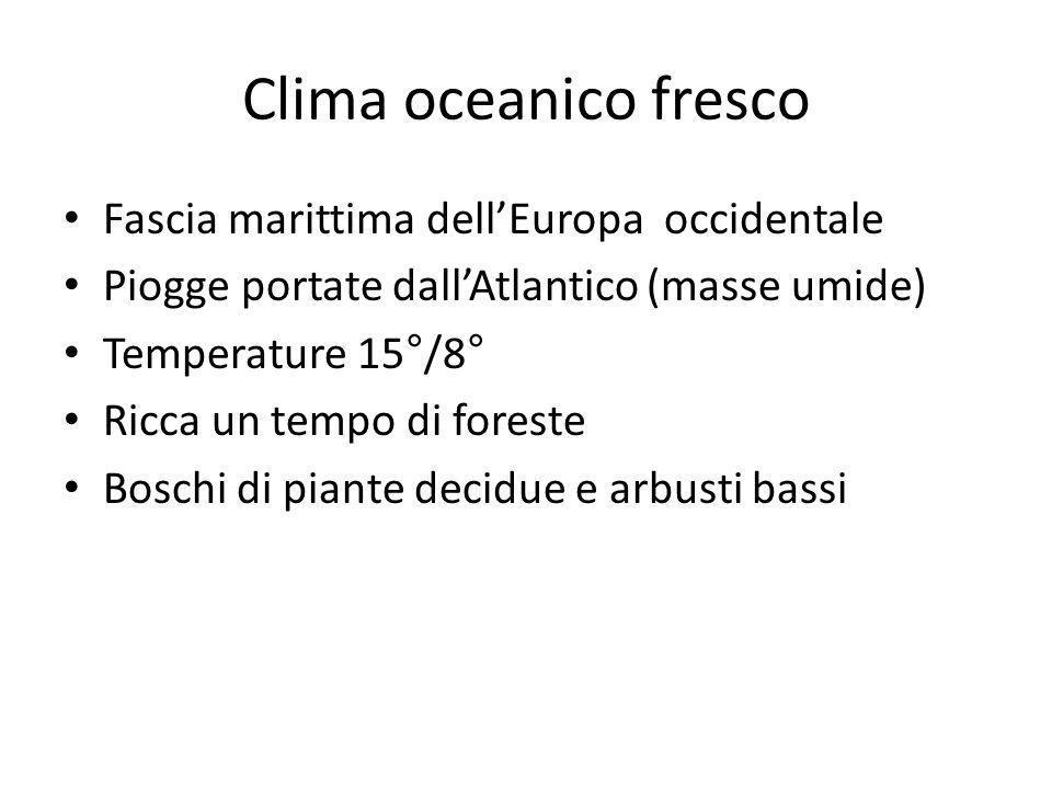 Clima oceanico fresco Fascia marittima dell'Europa occidentale