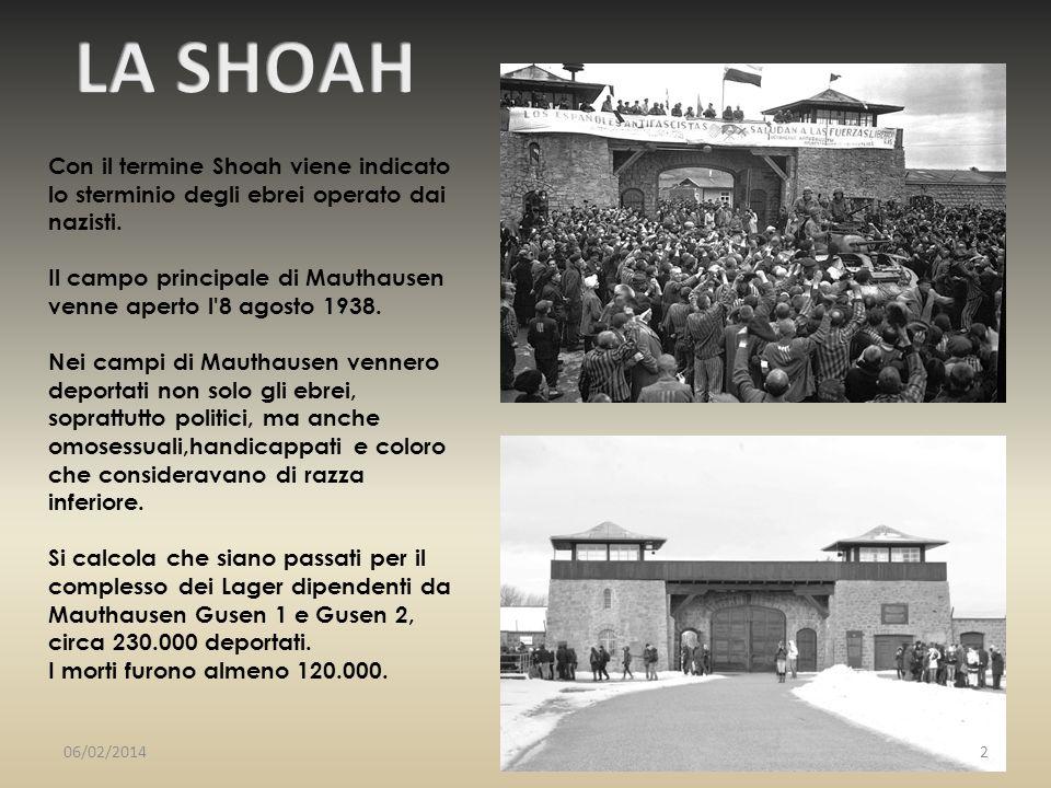 LA SHOAH Con il termine Shoah viene indicato lo sterminio degli ebrei operato dai nazisti.