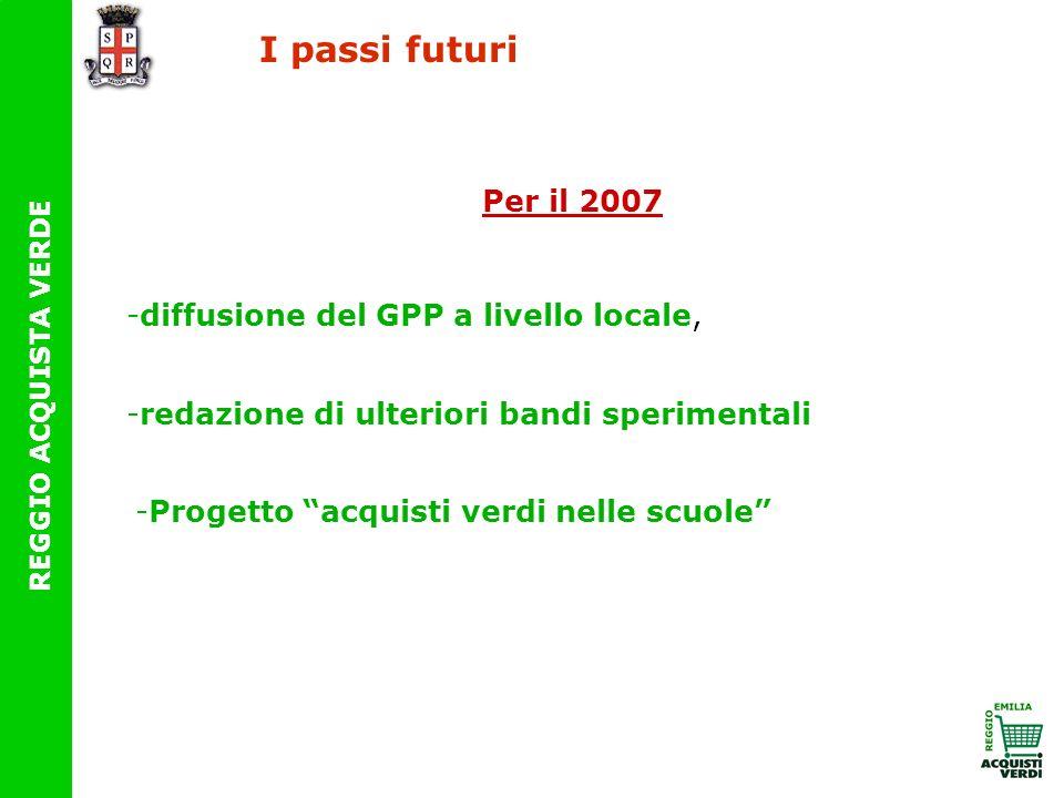 I passi futuri Per il 2007 diffusione del GPP a livello locale,