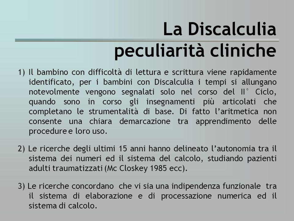 La Discalculia peculiarità cliniche