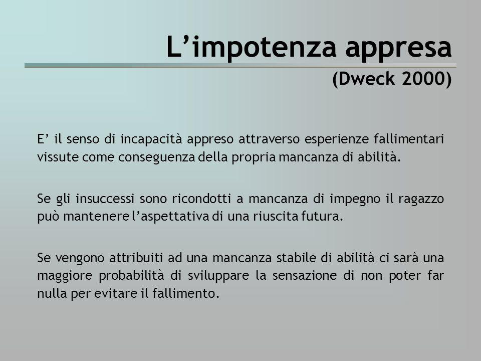 L'impotenza appresa (Dweck 2000)