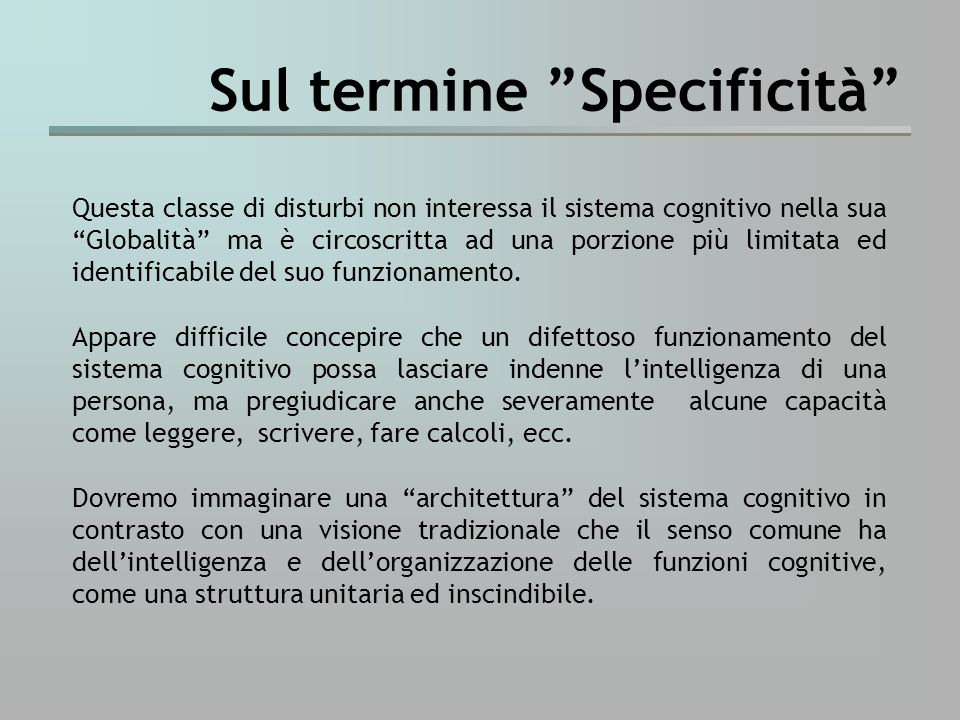Sul termine Specificità