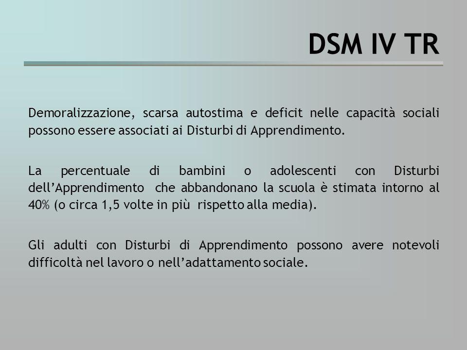 DSM IV TR Demoralizzazione, scarsa autostima e deficit nelle capacità sociali possono essere associati ai Disturbi di Apprendimento.