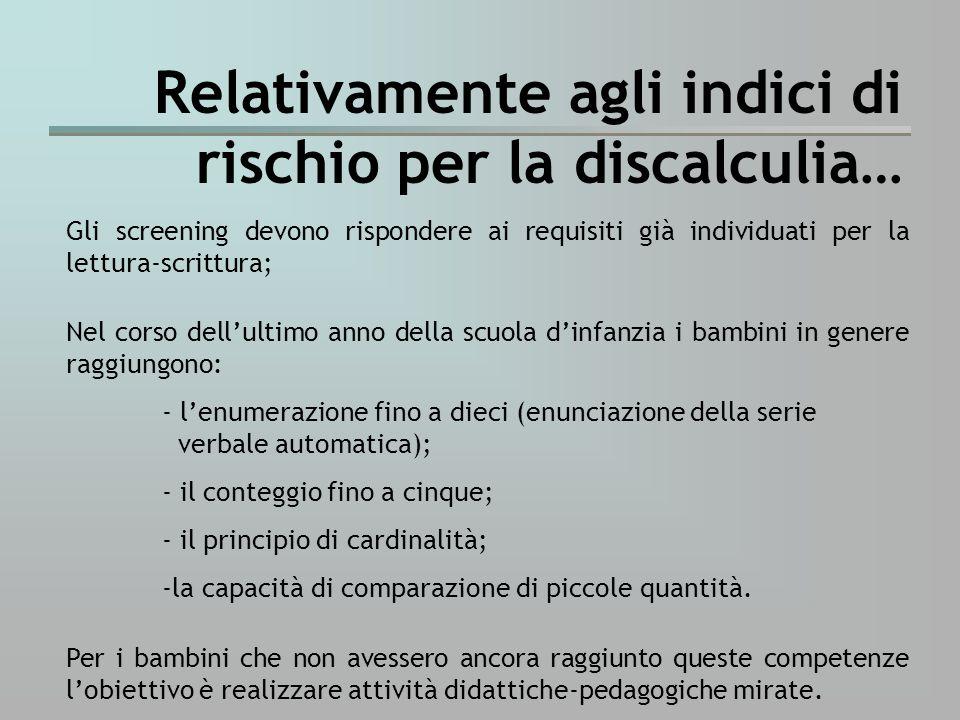 Relativamente agli indici di rischio per la discalculia…
