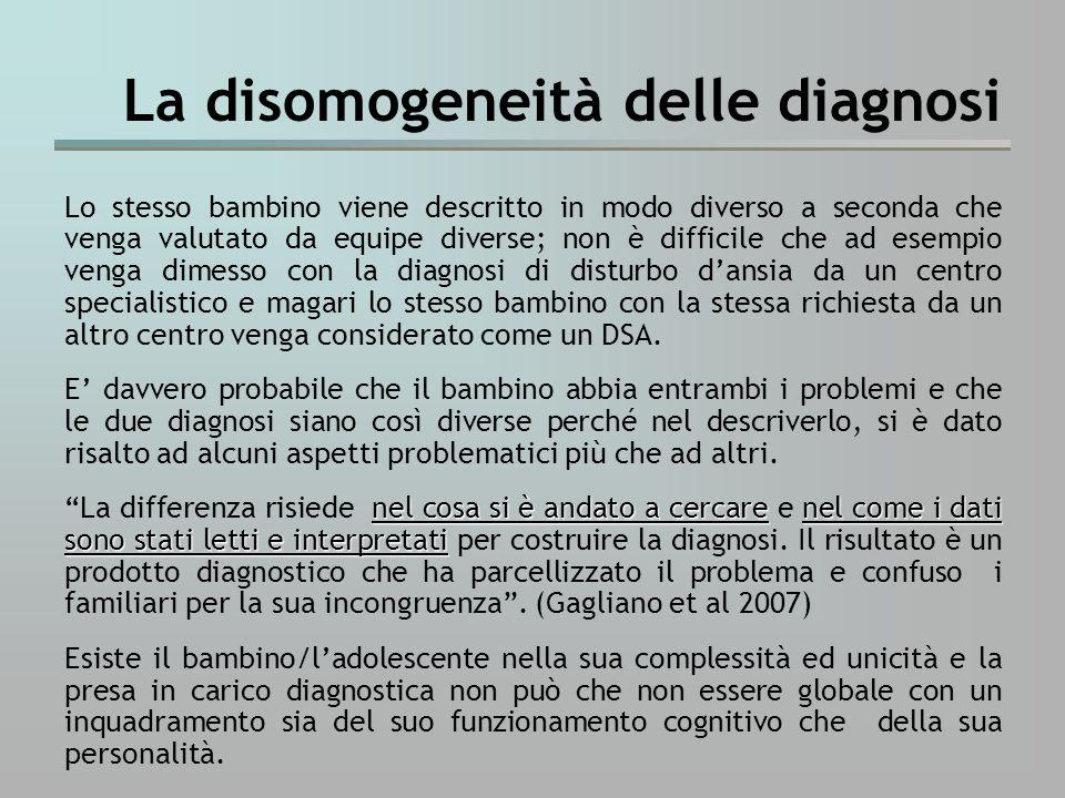 La disomogeneità delle diagnosi