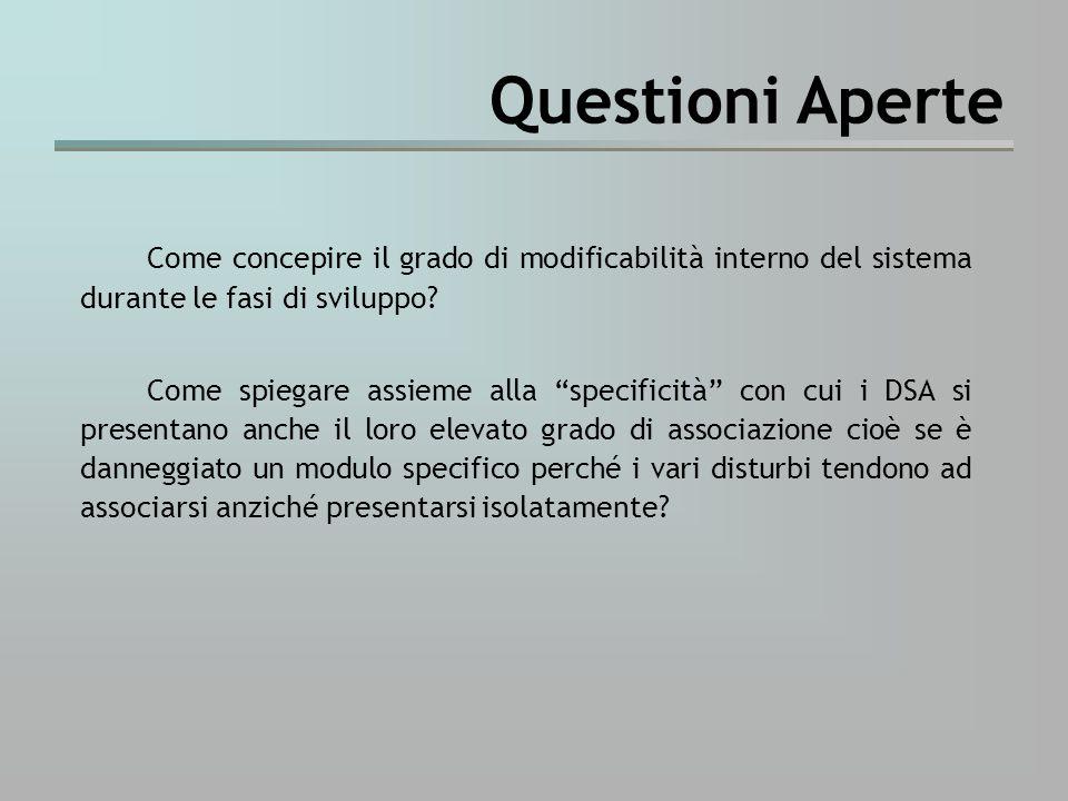 Questioni Aperte Come concepire il grado di modificabilità interno del sistema durante le fasi di sviluppo