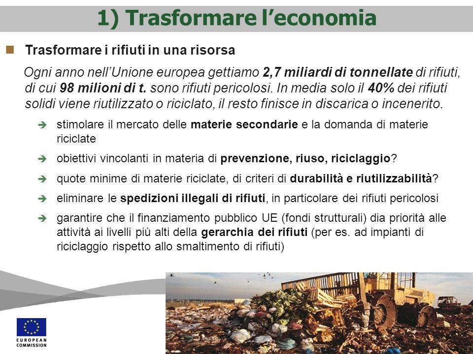 1) Trasformare l'economia