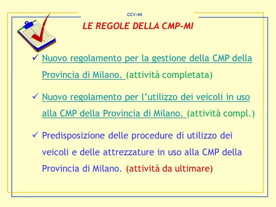 CCV-MI LE REGOLE DELLA CMP-MI. Nuovo regolamento per la gestione della CMP della Provincia di Milano. (attività completata)