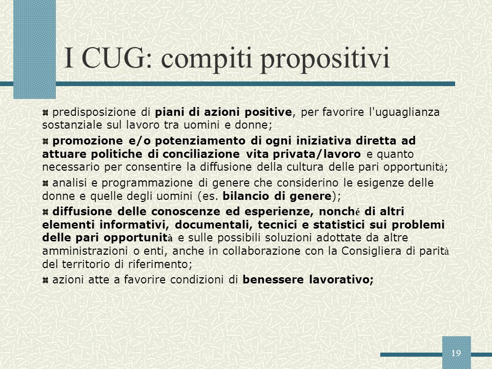 I CUG: compiti propositivi