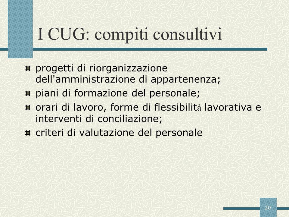 I CUG: compiti consultivi