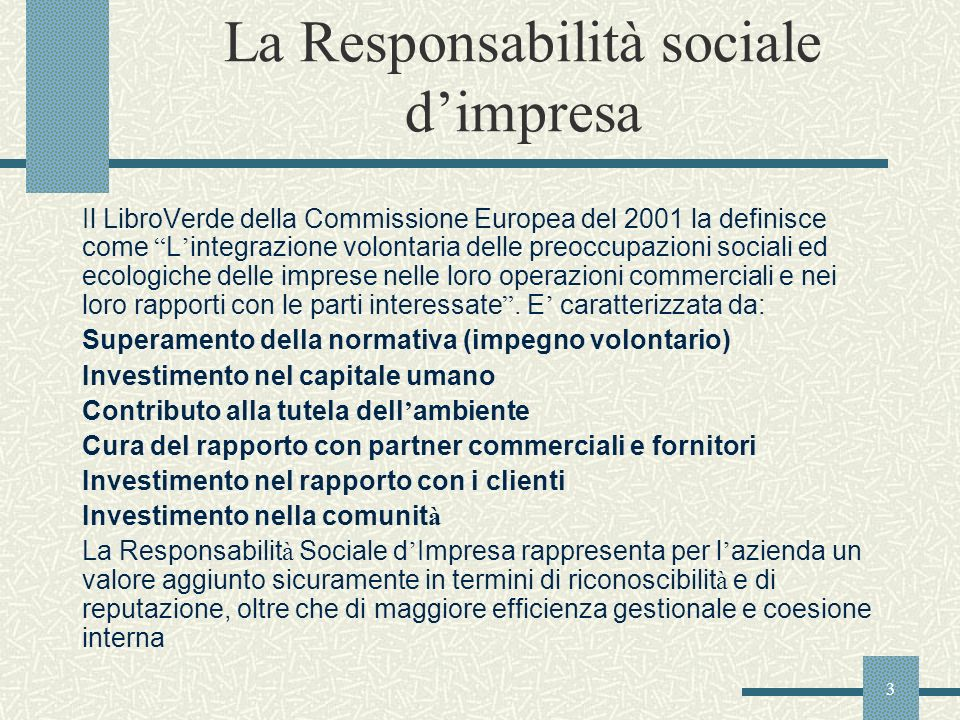 La Responsabilità sociale d'impresa
