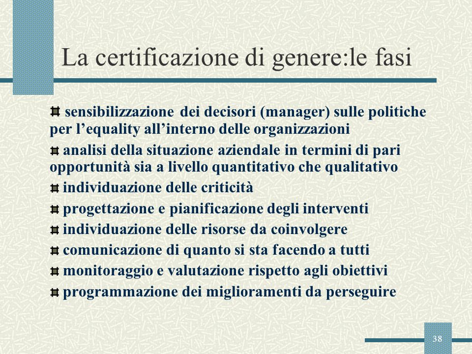 La certificazione di genere:le fasi