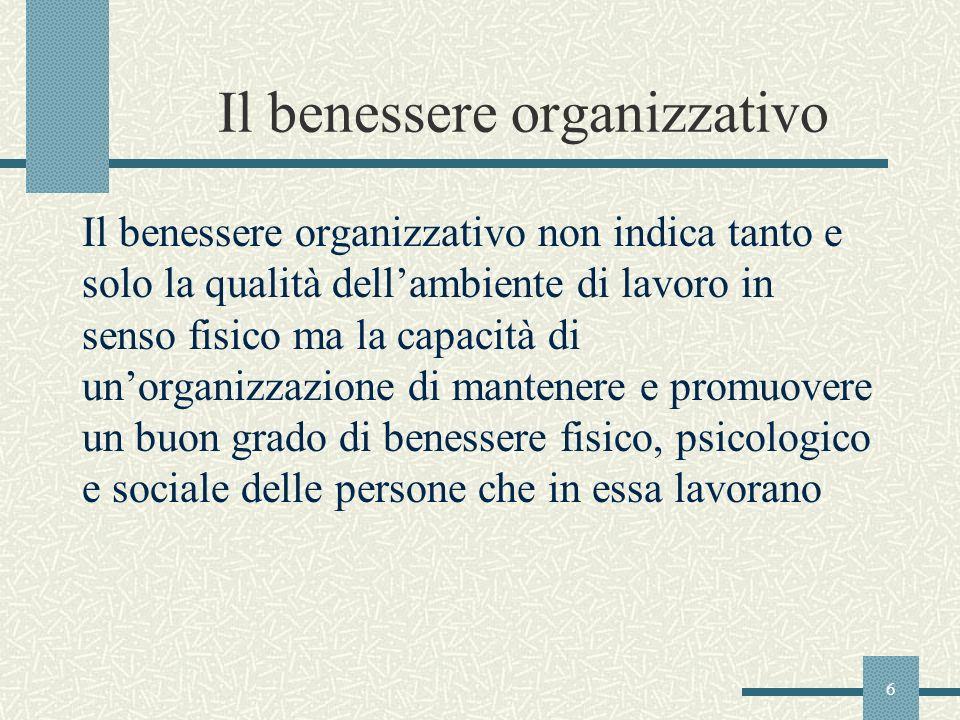 Il benessere organizzativo