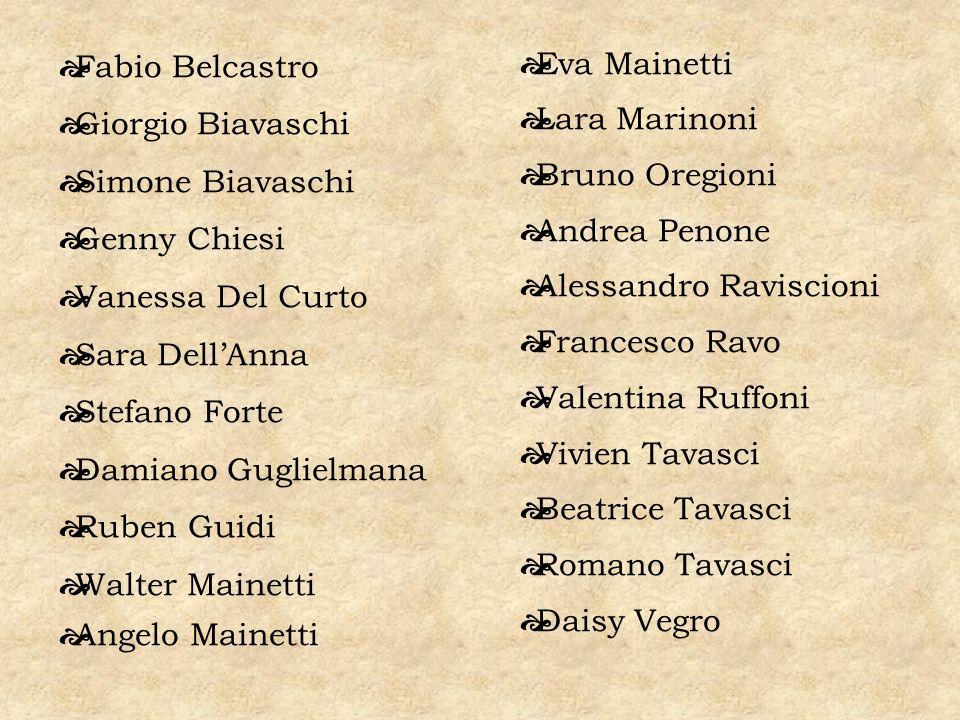 Eva Mainetti Lara Marinoni. Bruno Oregioni. Andrea Penone. Alessandro Raviscioni. Francesco Ravo.