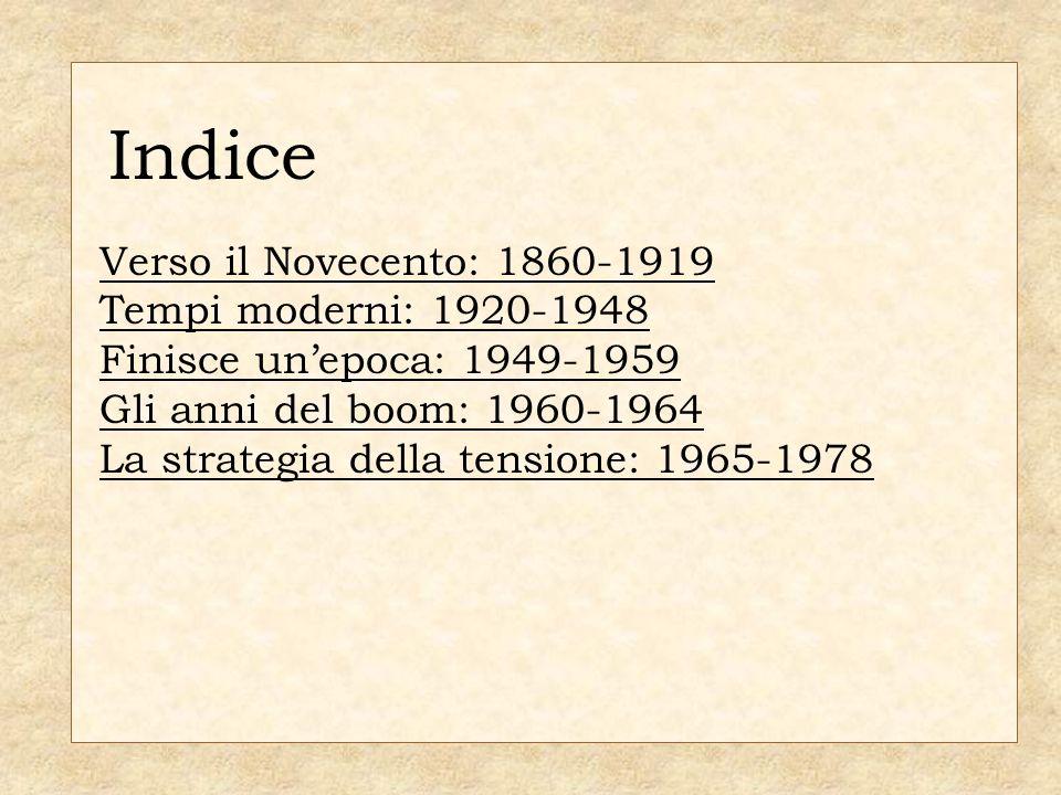 Indice INDICE Verso il Novecento: 1860-1919 Tempi moderni: 1920-1948
