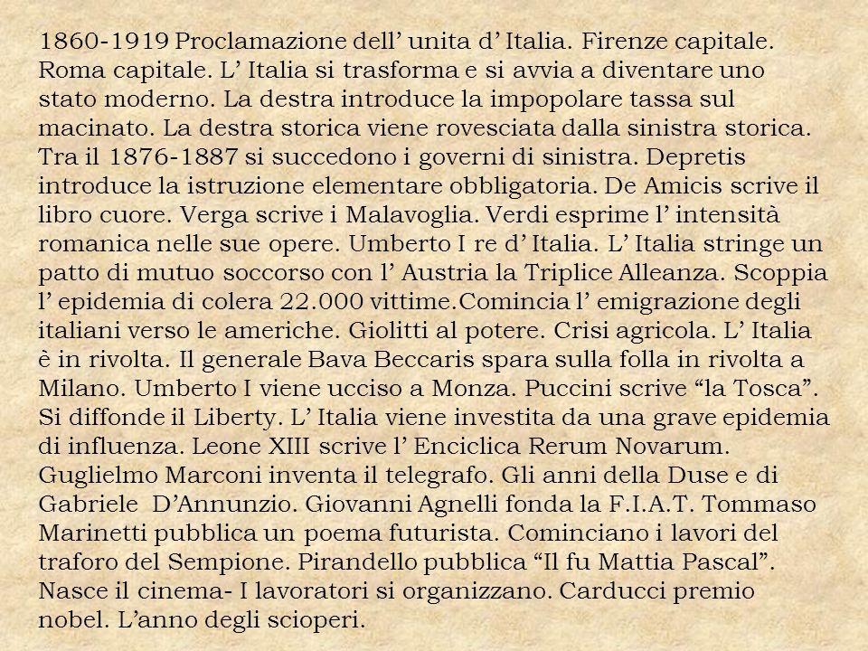 1860-1919 Proclamazione dell' unita d' Italia. Firenze capitale
