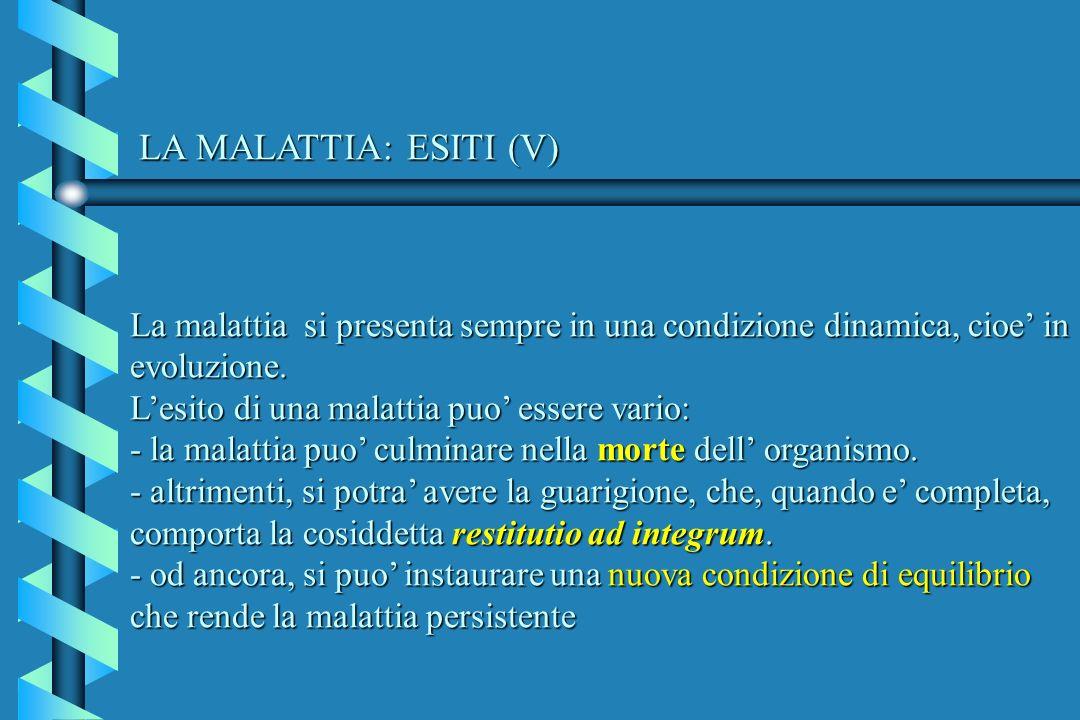 LA MALATTIA: ESITI (V) La malattia si presenta sempre in una condizione dinamica, cioe' in evoluzione.