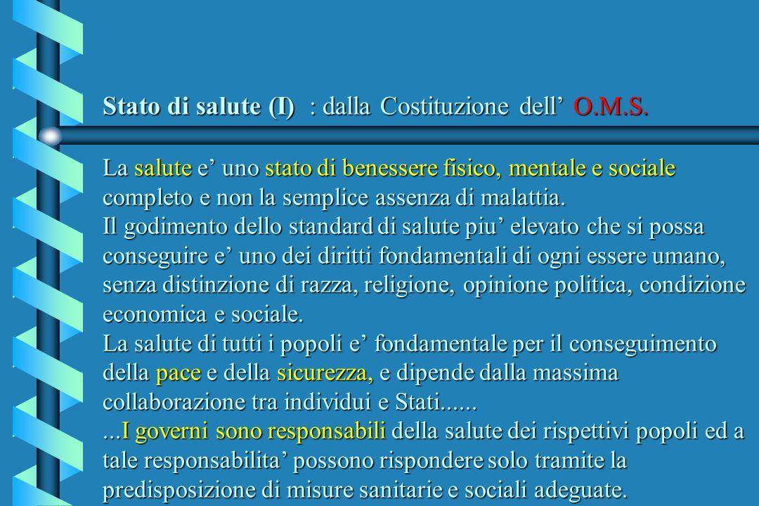 Stato di salute (I) : dalla Costituzione dell' O. M. S