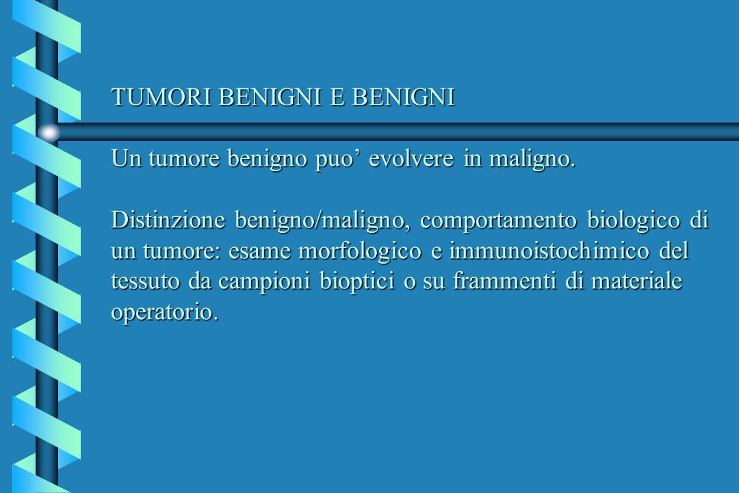 TUMORI BENIGNI E BENIGNI Un tumore benigno puo' evolvere in maligno