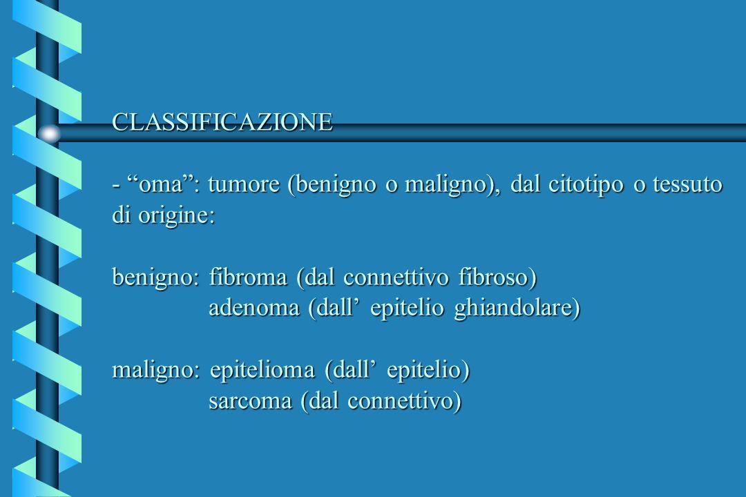 CLASSIFICAZIONE - oma : tumore (benigno o maligno), dal citotipo o tessuto di origine: benigno: fibroma (dal connettivo fibroso) adenoma (dall' epitelio ghiandolare) maligno: epitelioma (dall' epitelio) sarcoma (dal connettivo)