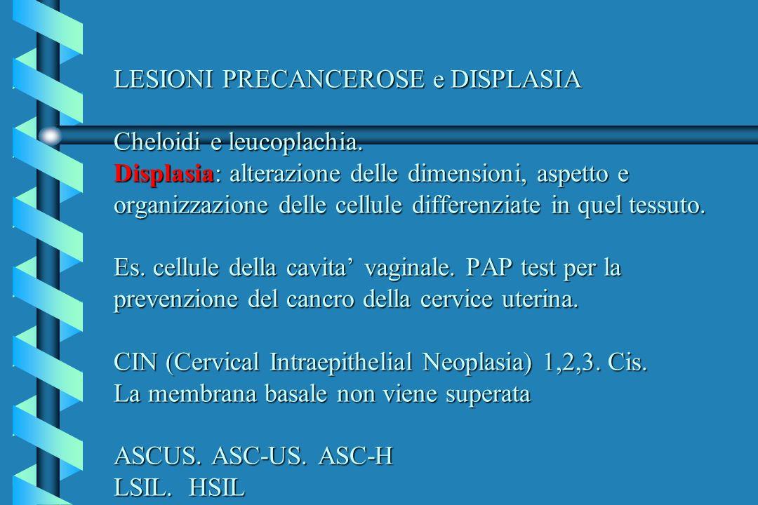LESIONI PRECANCEROSE e DISPLASIA Cheloidi e leucoplachia