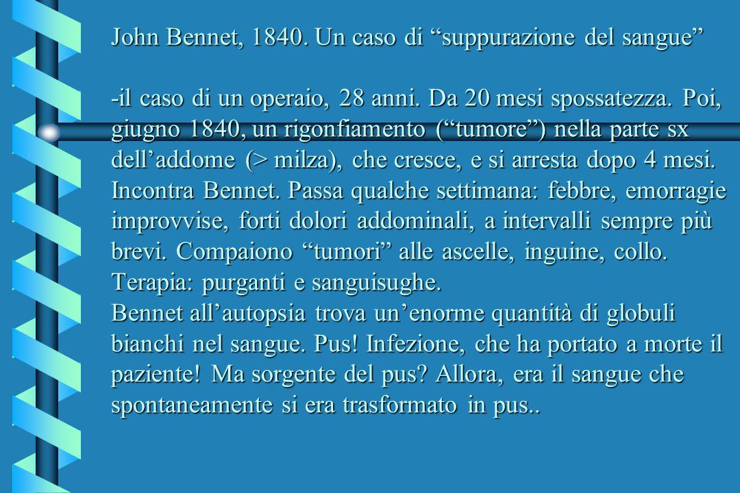 John Bennet, 1840. Un caso di suppurazione del sangue -il caso di un operaio, 28 anni.
