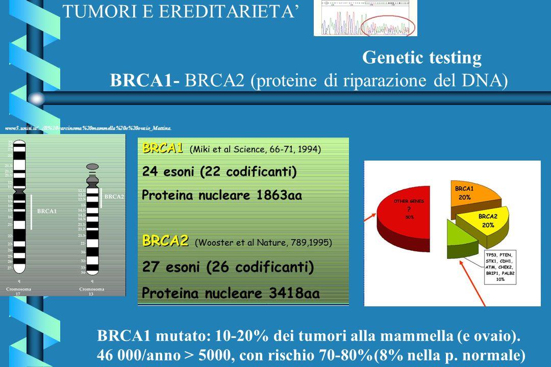 TUMORI E EREDITARIETA' Genetic testing BRCA1- BRCA2 (proteine di riparazione del DNA)