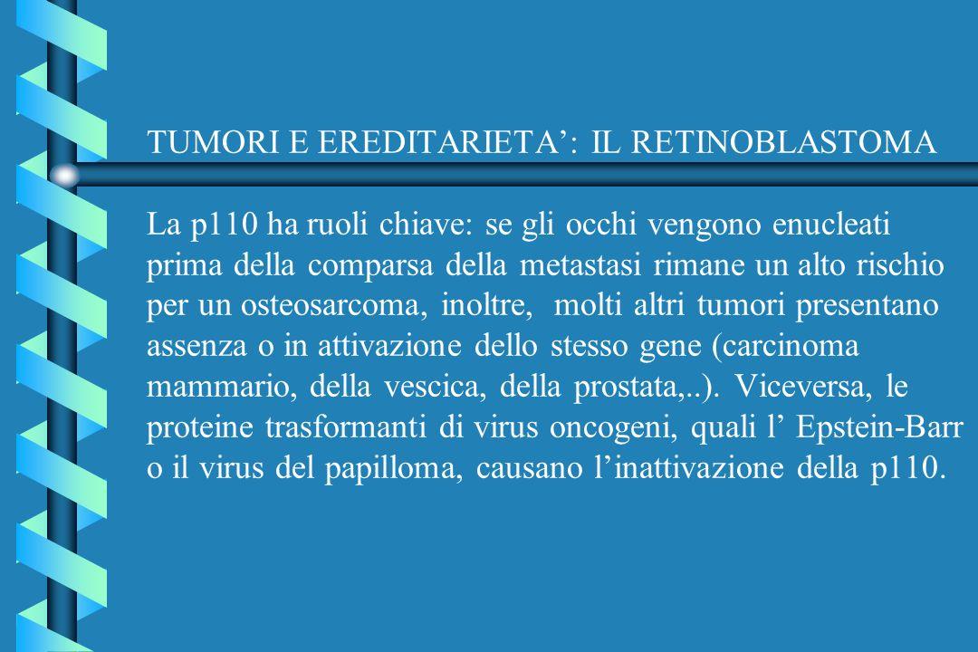 TUMORI E EREDITARIETA': IL RETINOBLASTOMA La p110 ha ruoli chiave: se gli occhi vengono enucleati prima della comparsa della metastasi rimane un alto rischio per un osteosarcoma, inoltre, molti altri tumori presentano assenza o in attivazione dello stesso gene (carcinoma mammario, della vescica, della prostata,..).