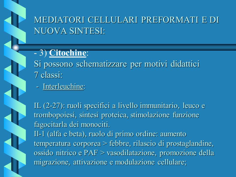 MEDIATORI CELLULARI PREFORMATI E DI NUOVA SINTESI: - 3) Citochine: Si possono schematizzare per motivi didattici 7 classi: - Interleuchine: IL (2-27): ruoli specifici a livello immunitario, leuco e trombopoiesi, sintesi proteica, stimolazione funzione fagocitarla dei monociti.