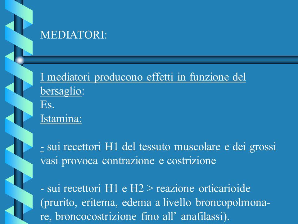 MEDIATORI: I mediatori producono effetti in funzione del bersaglio: Es