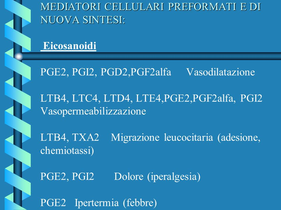 MEDIATORI CELLULARI PREFORMATI E DI NUOVA SINTESI: Eicosanoidi PGE2, PGI2, PGD2,PGF2alfa Vasodilatazione LTB4, LTC4, LTD4, LTE4,PGE2,PGF2alfa, PGI2 Vasopermeabilizzazione LTB4, TXA2 Migrazione leucocitaria (adesione, chemiotassi) PGE2, PGI2 Dolore (iperalgesia) PGE2 Ipertermia (febbre)