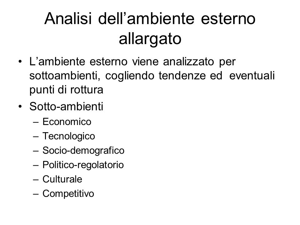 Analisi dell'ambiente esterno allargato