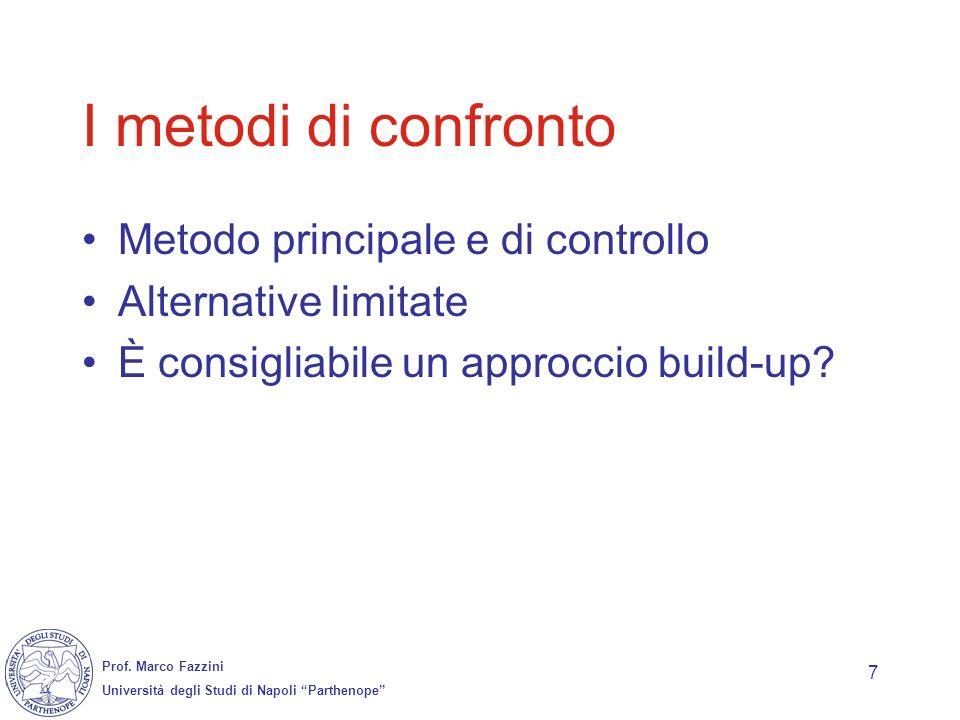 I metodi di confronto Metodo principale e di controllo