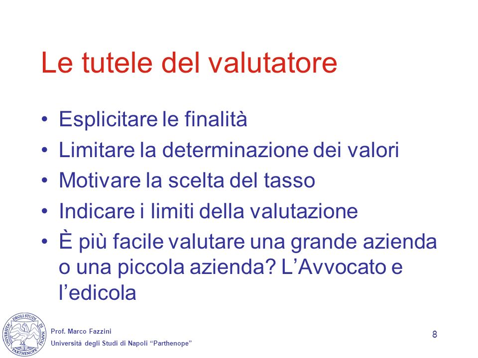 Le tutele del valutatore