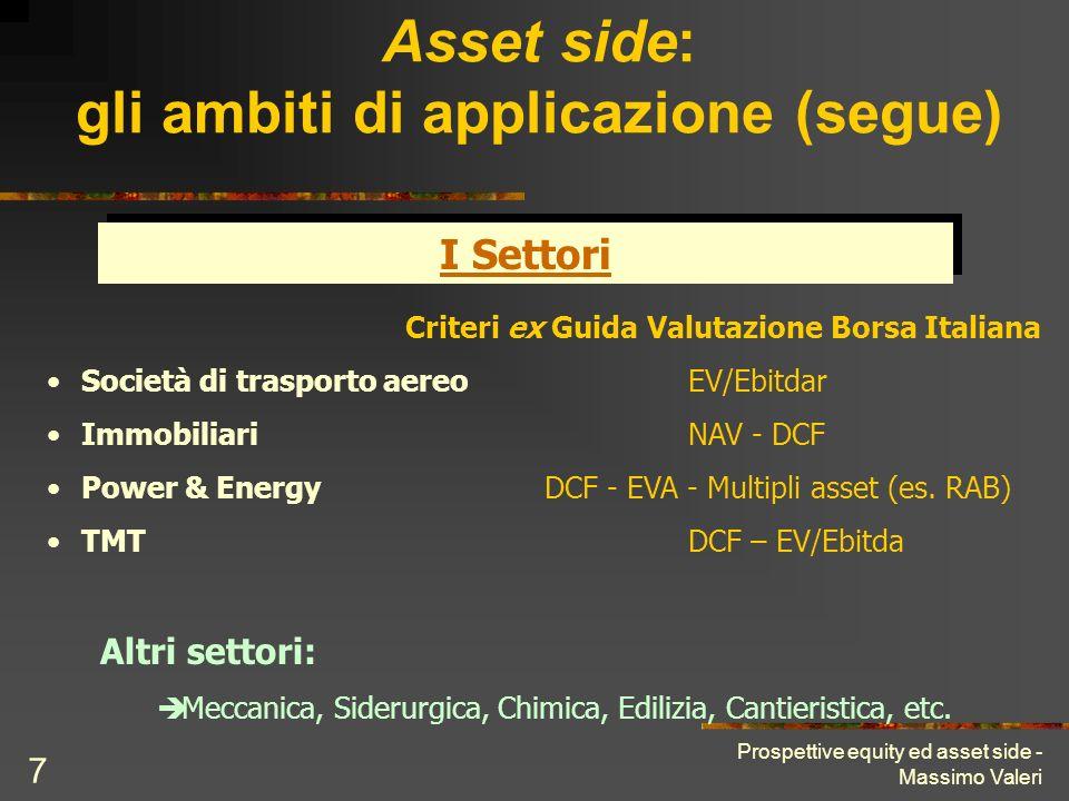 Asset side: gli ambiti di applicazione (segue)