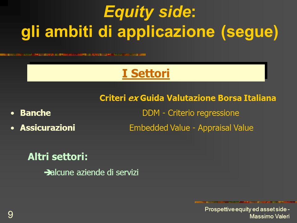 Equity side: gli ambiti di applicazione (segue)