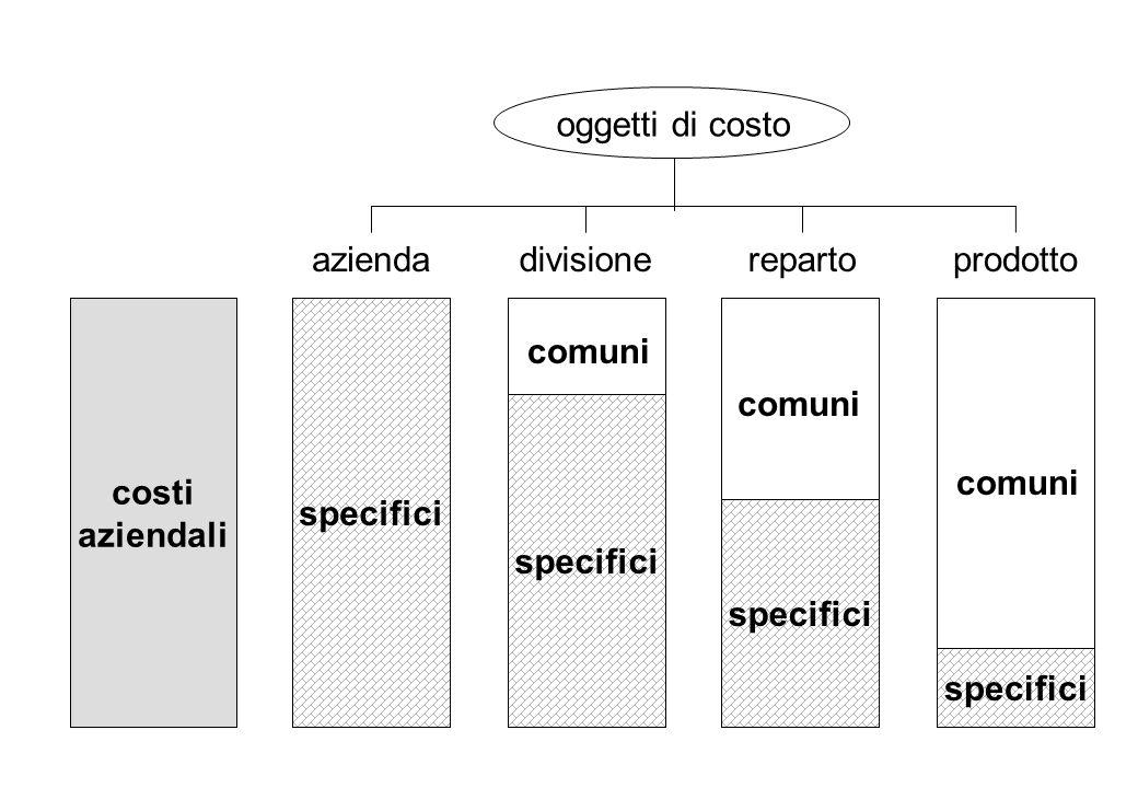 oggetti di costo specifici. azienda. divisione. reparto. prodotto. comuni. comuni. specifici.