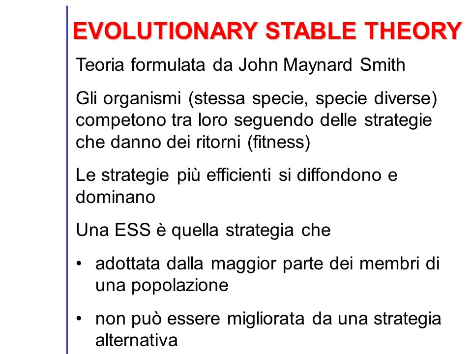 EVOLUTIONARY STABLE THEORY