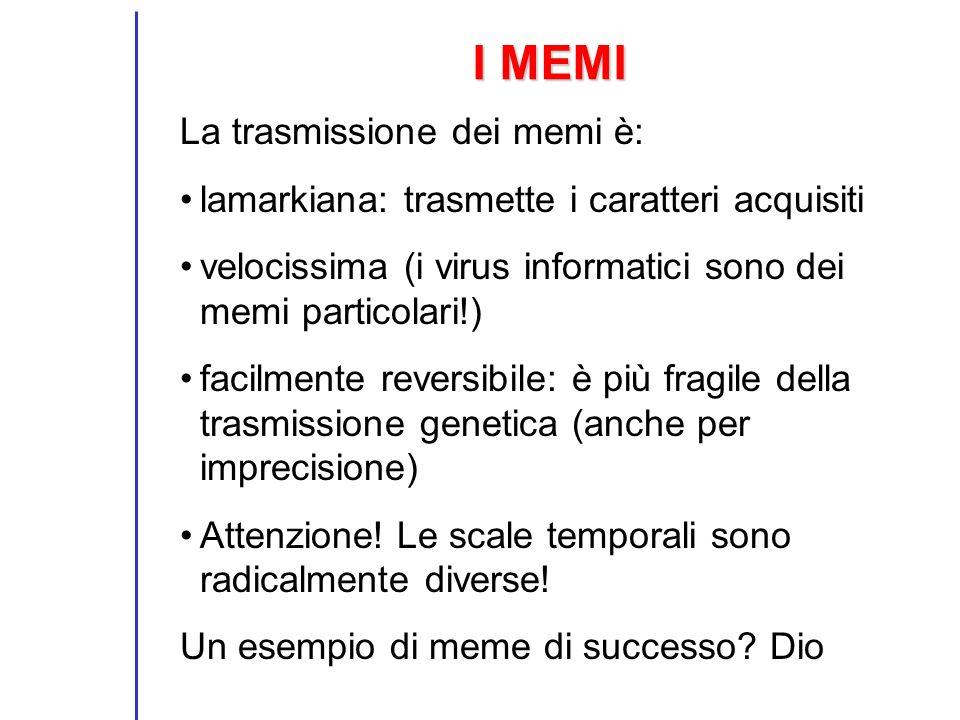 I MEMI La trasmissione dei memi è:
