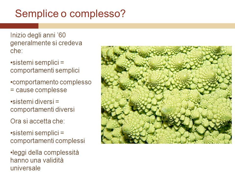 Semplice o complesso Inizio degli anni '60 generalmente si credeva che: sistemi semplici = comportamenti semplici.