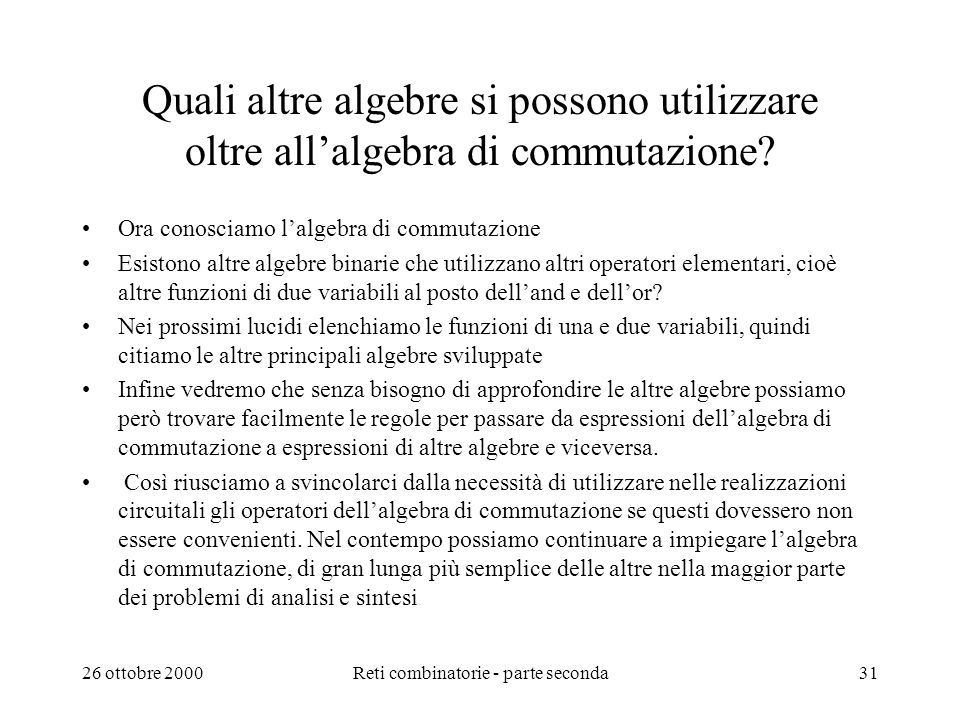 Reti combinatorie - parte seconda