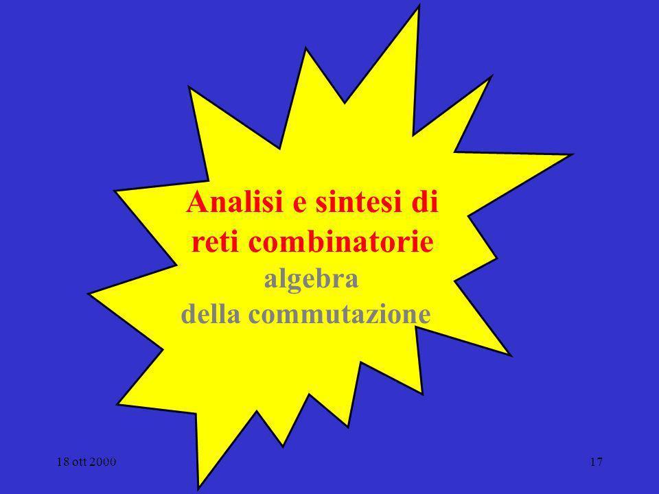 Analisi e sintesi di reti combinatorie