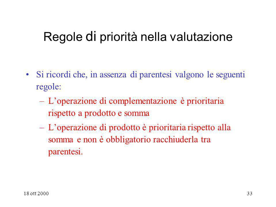 Regole di priorità nella valutazione
