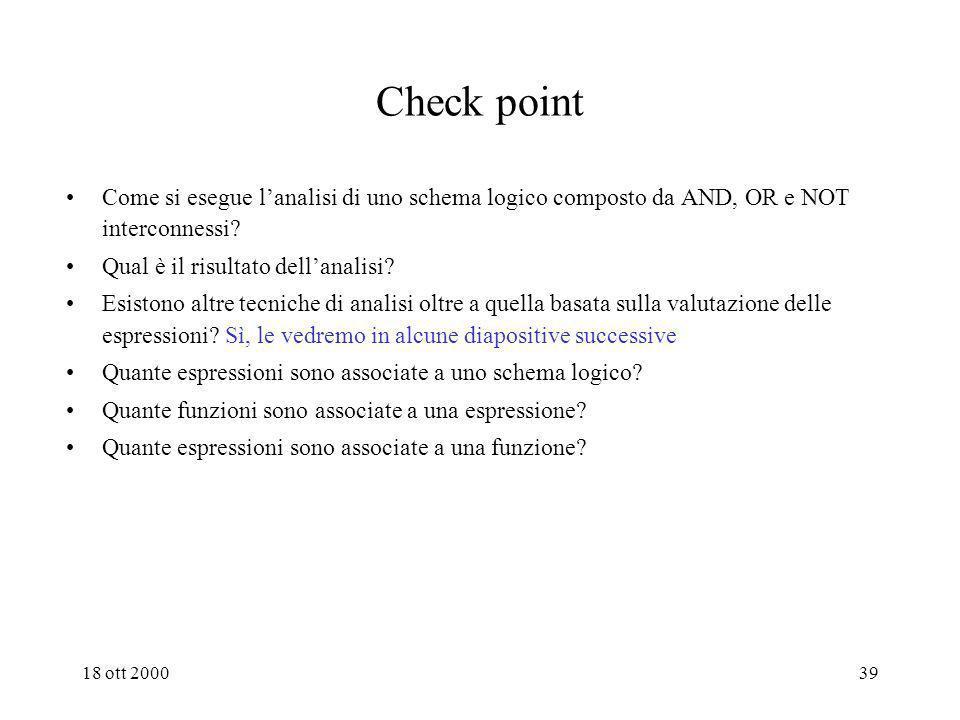Check point Come si esegue l'analisi di uno schema logico composto da AND, OR e NOT interconnessi Qual è il risultato dell'analisi
