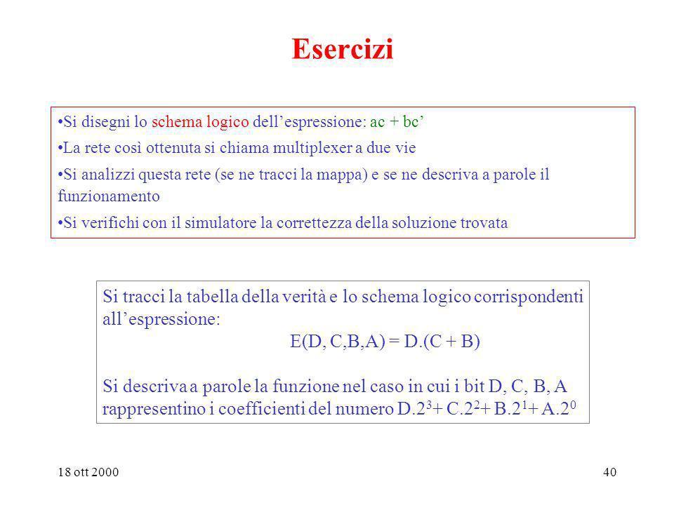 Esercizi Si disegni lo schema logico dell'espressione: ac + bc' La rete così ottenuta si chiama multiplexer a due vie.
