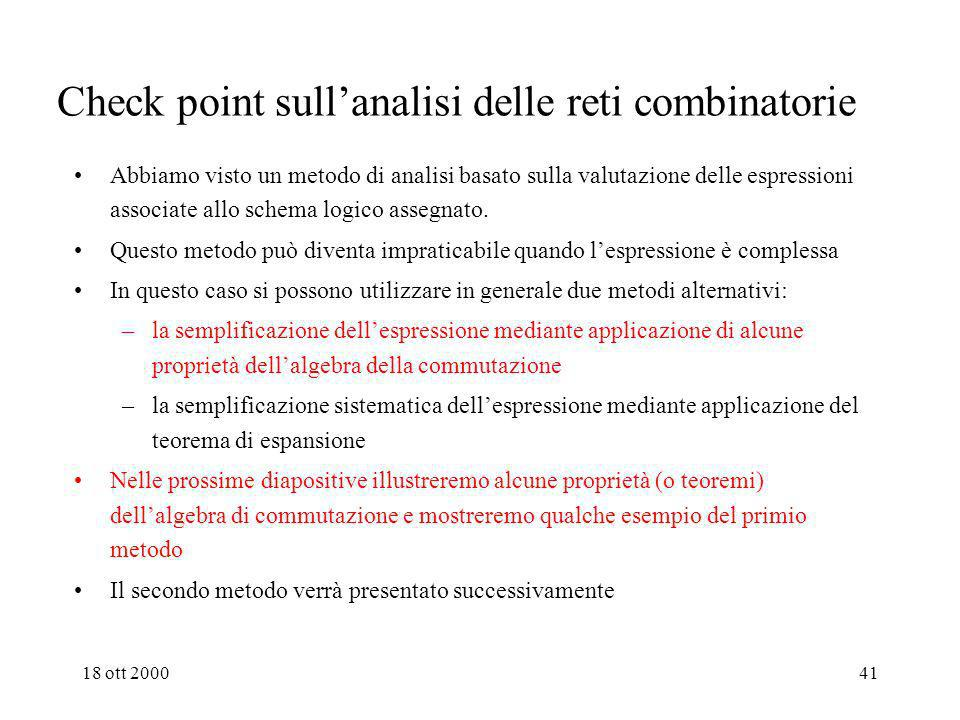 Check point sull'analisi delle reti combinatorie