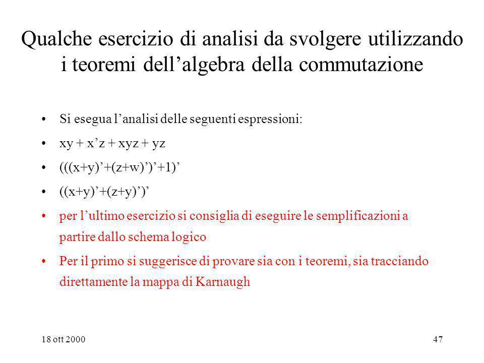 Qualche esercizio di analisi da svolgere utilizzando i teoremi dell'algebra della commutazione