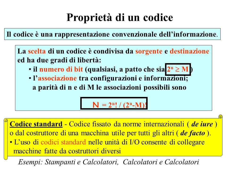 Proprietà di un codice Il codice è una rappresentazione convenzionale dell'informazione.